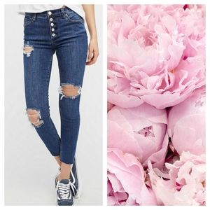 Free People Destroyed Reagan Button Skinny Jeans